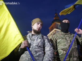 "In Kiev at St. Michael's Square soldiers of the battalion ""Azov"" were dispatched to the area of ATO"