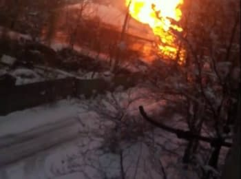 Gas pipeline is burning in Donetsk near the 58th specialized school, 12.01.2015