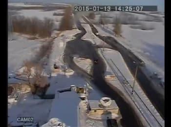 "The network has video of exploding MLRS ""Grad"" shells near Volnovakha, 13.01.15"