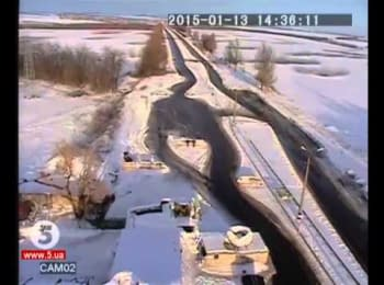 Video of terrorists' shelling at the ATO forces checkpoint near Volnovakha (full version), 13.01.2015