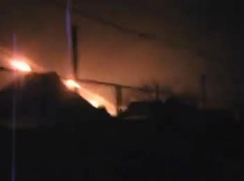 """Militants firing from MLRS """"Grad"""" from a residential area, Donetsk, 14.01.15"""