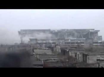 Момент підриву нового терміналу Донецького аеропорту, 19.01.15
