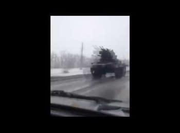 Колонна военной техники из России продвигается в сторону Украинской границы, 20.01.2015