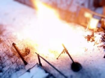 Militants firing from mortar within a residential area. Horlivka, 18.01.15