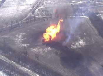 Terrorists destroyed the Svetlodarsk gas distribution station. Footage from drone