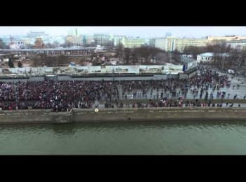 Mourning March in memory of Boris Nemtsov. Footage from drone