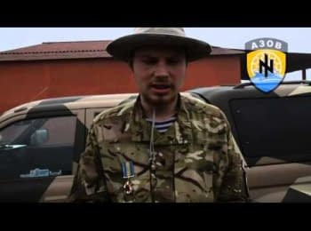 """Soldier of """"Azov"""" regiment about the situation in Shyrokyne, 01.04.2015"""