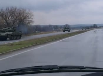 Military vehicles of militants on the way to Alchevsk