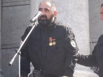 """Урочисте прощання з бійцем полку """"Азов"""" Гіоргієм Джанелідзе на Майдані"""