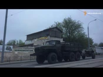 Колонна военной техники проехала по центру Донецка