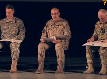 Senior NATO commanders read women's monologues on stage