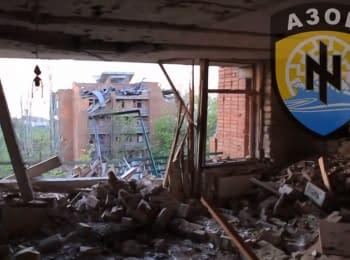 """Fragment of a morning battle of regiment """"Azov"""" for Shyrokyne, 20.05.2015"""