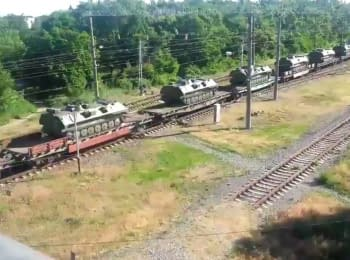 Echelon with military equipment is moving from Taganrog towards Ukraine, 06.06.2015
