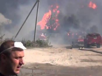 Відео з місця пожежі нафтобази під Києвом