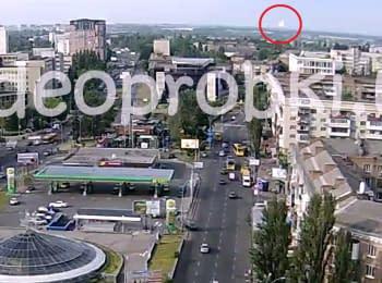 Момент вибуху на нафтобазі під Києвом. Відео з камери відеоспостереження