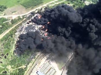 Пожежа на нафтобазі у Василькові. Відео з безпілотника
