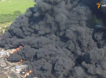 Гасіння пожежі на нафтобазі під Києвом. Відео з безпілотника