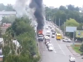 In Lviv flaming trolleybus rammed a car and crashed into a house, 01.07.2015