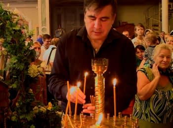 Mikheil Saakashvili lit a candle in the Ukrainian church at the memorial to Heavenly Hundred