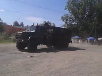 A column of National Guard' military vehicles drove into the Mukacheve
