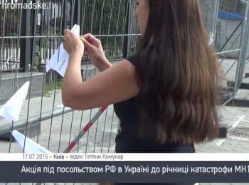 Посольство РФ в Киеве забросали бумажными самолетиками
