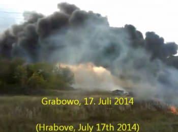 Новое видео аварии MH17, снято сразу после попадания ракеты. Грабово, 17.07.2014