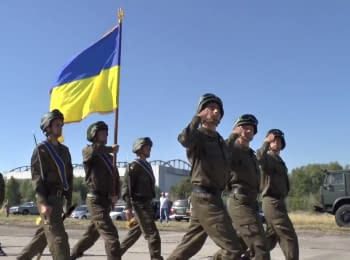 Soldiers of the National Guard preparing for the parade in honor of Independence Day of Ukraine