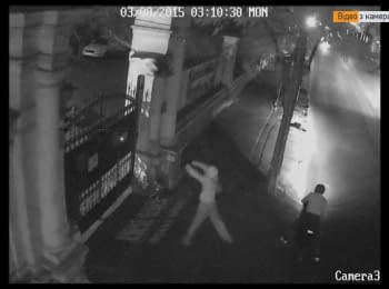"""Unknowns undermined the headquarter of """"Samooborona"""" in Odesa (+ video from surveillance camera), 03.08.2015"""