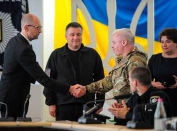 Prime Minister of Ukraine Arseniy Yatsenyuk met with soldiers of volunteer battalions and handed them awards
