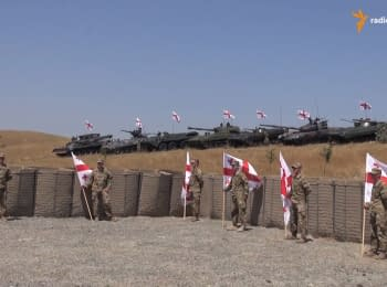 NATO trains Georgian troops on the new tank training ground near Tbilisi