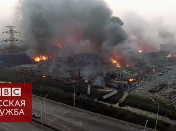 Взрывы в Китае: съемка с беспилотника