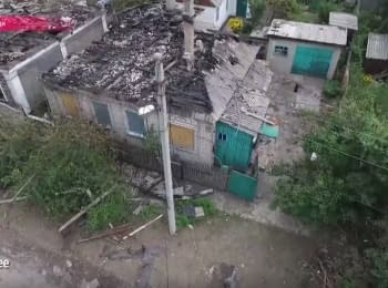 Zhovtnevyi region of Donetsk after the shelling - video from drone