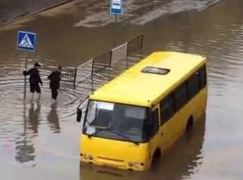 Полицейские выносят на руках пассажиров автобуса во Львове