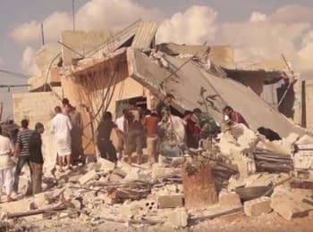 Последствия обстрела российской авиацией сирийского города Идлиб