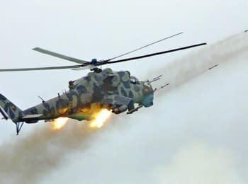 Военные Ми-24 обстреливают позиции повстанцев в Сирии
