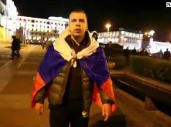 Pro-Russian activist at the rally in Minsk, 11.10.2015