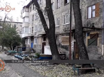 Donetsk today: destroyed houses and shops in Petrovsky district