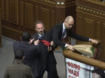Conflict between Barna and Yatsenyuk at Verkhovna Rada, 11.12.2015