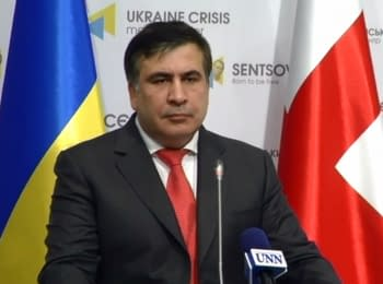 Mikheil Saakashvili's briefing on the conflict with Yatsenyuk and Avakov