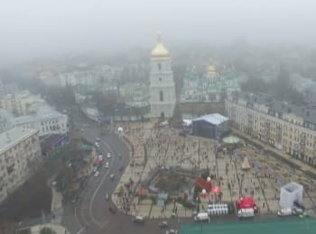 Christmas tree at St. Sophia Square in Kyiv. Video from drone