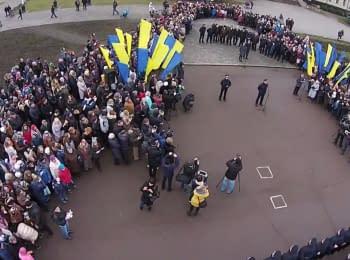 New police' Oath in Khmelnytskyi. Video from UAV
