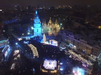 New Year at Sophia Square in Kyiv. Bird's eye view