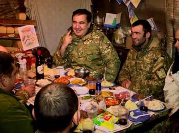Саакашвілі зустрів Новий рік з воїнами АТО на передовій