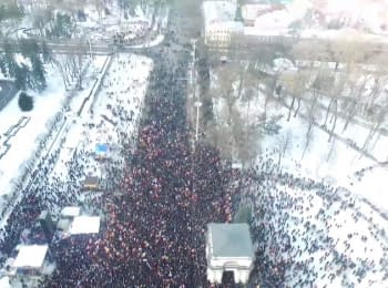 Protests in Chisinau, Moldova. Footage from the drone, 24.01.2015