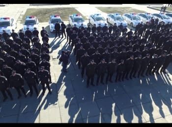 Oath of the patrol police in Kherson. Video from drone