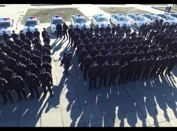 Присяга патрульных полицейских в Херсоне. Видео с беспилотника