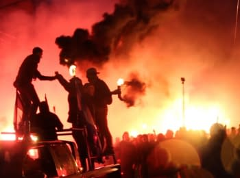 """The first joint march of the """"Dnipro"""" and """"Shakhtar"""" ultras"""