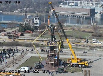 Демонтаж пам'ятника Леніну. Запоріжжя, 16.03.2016