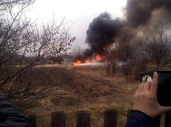 Russian Su-25 has crashed near the airport Chernigovka. Video from the wreck site