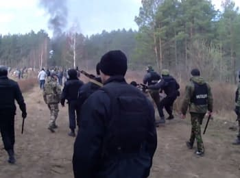 Clash of amber-diggers with police in Rivne region. Video